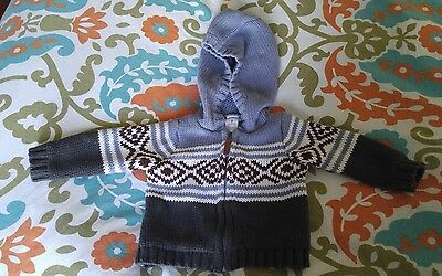 Carters baby boys hooded zip-front fair isle sweater size 9m
