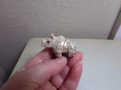 Rhino, Hand carved Stone from the Andes Rich Colored Rhinoceros Miniature Unique