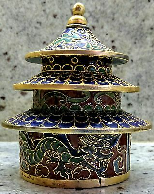Chinese Cloisonne Dragon Pagoda Stackible Stacking Box