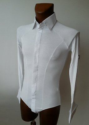 Mens White Stretch Crepe Shirt With Body Fitting For Tango, Ballroom.