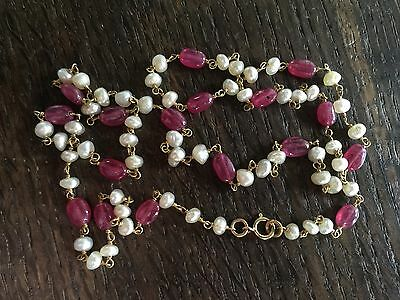 Stunning Vintage Natural Pearl and Rubies and 18ct Gold necklace. 28 carats!