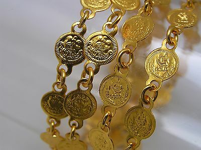 LONG ~ Victorian Style Heavily 22kt Gold plated Coin charm Necklace