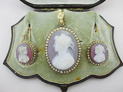 Boxed Victorian 15ct Gold & Hardstone Cameo Brooch/pendant & Earrings Needs TLC