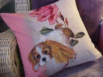Cavalier King Charles Hand Painted Pillow
