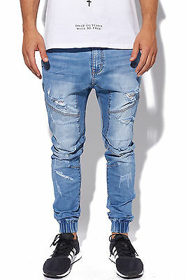 New KISS CHACEY Mens Messiah Jean Zephyr Blue Rip