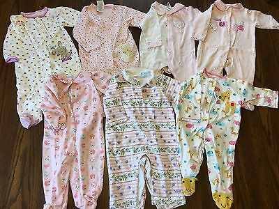 Lot Of 7 Baby Girl Sleepers 6-9 Months