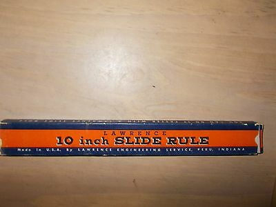 Vintage 1940s Lawrence Engineering 10 inch Slide Rule with Box, Made USA Indiana