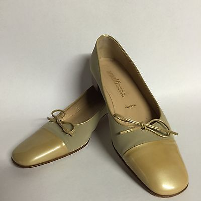 54c1da64b1d2 Amalfi Nordstrom Women s Taupe Gold Fabric Leather Shoes Italy Size 7B Nice!