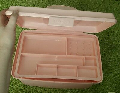 Vintage Singer Sewing storage box tub carry case insert tray Pink Old Retro