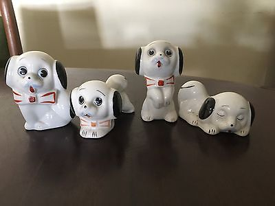 Vintage Set Of 4 Ceramic Puppy Dogs