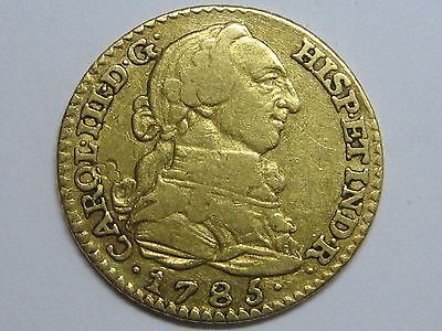 1785 Madrid 1 Escudo Charles Iii Gold Coin Spanish Spain