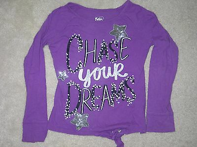 """Girls Size 10 JUSTICE Purple """"Chase Your Dreams"""" Long Sleeve Top Shirt EUC"""