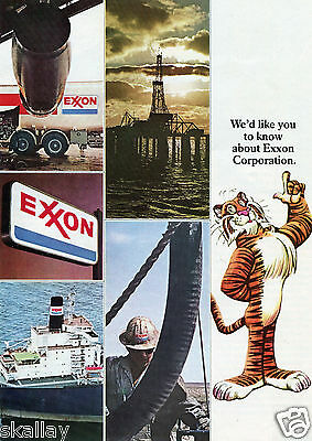 1973 4 Page Centerfold Print Ad of Exxon Corp Tiger Gas & Oil