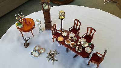 Edwardian Style Dolls House Dining Room Job Lot Furniture & Accessories