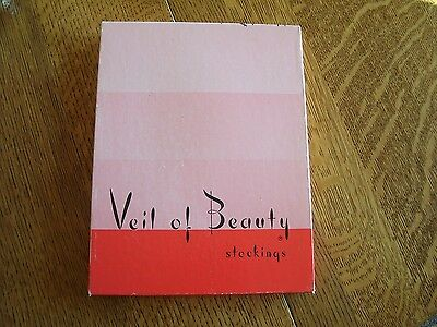 Vtg Veil Of Beauty Womens Nylon Stockings Cantrece Ii Beige Medium