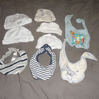 Bundle of baby boy hats and bibs, size range 0-6 months