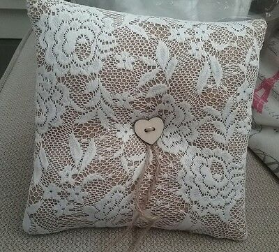 Wedding ring pillow/ring bearer cushion. Rustic, country wedding, vintage style