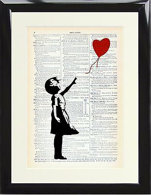 Dictionary Art Print Banksy Style Graffiti Girl and red balloon street painting