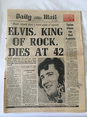 Elvis Presley's death - Daily Mail newspaper Aug 1977