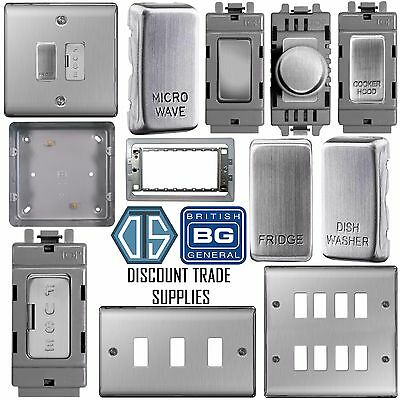 BG Nexus Metal Grid Plate Switch Components Brushed Steel Satin Chrome NBS Range
