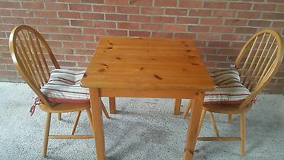 Solid pine Small Dining Table And 2 Chairs Kitchen Square  Wooden Breakfast Set