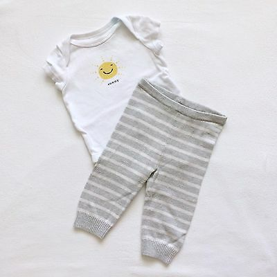 Unisex Baby Gap 2-Piece Outfit Sunny Shirt & Striped Sweater Leggings 0-3 Months