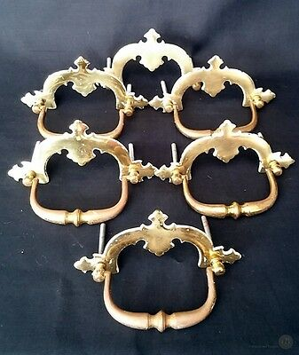 5 x Brass Drawer Handles Plus 1 x Spare Back Plate 11cm Wide