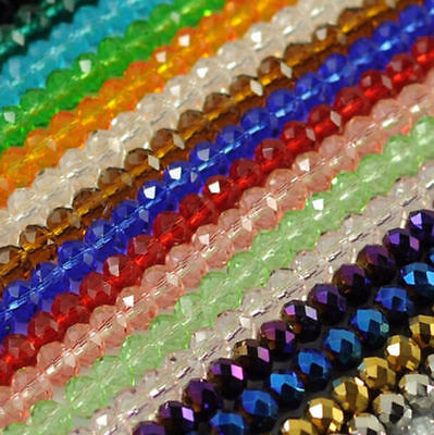 49Pcs Rondelle Faceted Crystal Glass Loose Spacer Beads Wholesale 6mm 8mm