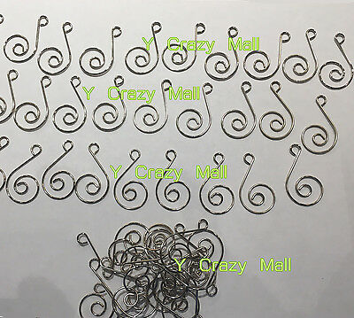 100pcs Miniature Small Christmas Tree Scroll Wire Ornament Hooks Hangers Silver