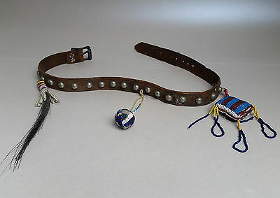 Antique Plains Child's Belt With Beaded Charms and German Silver Studs, ca 1890s