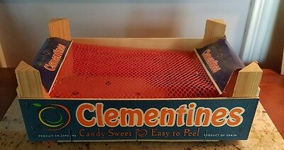 Blue & Orange CLEMENTINES Candy Sweet Easy Peel Small Open Top Wood Box Spain