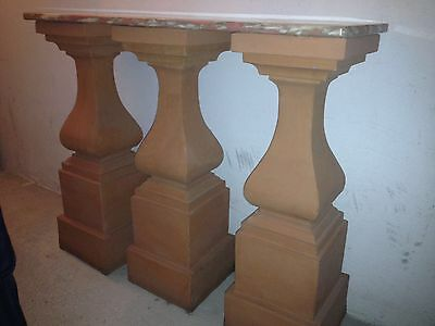 3 Colonne In Terracotta + Base In Marmo USATE