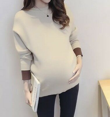 Warm Winter Maternity Pregnancy Long Sleeve Knitted Jumper Sweater / Free Size