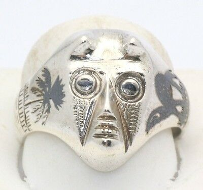 Vintage Aztec Ring Hand Made Mexico Sterling Silver