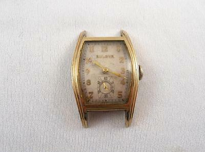 Bulova Art Deco 15 Jewels Tonneau Curved Case Man Watch For Parts Or Repair