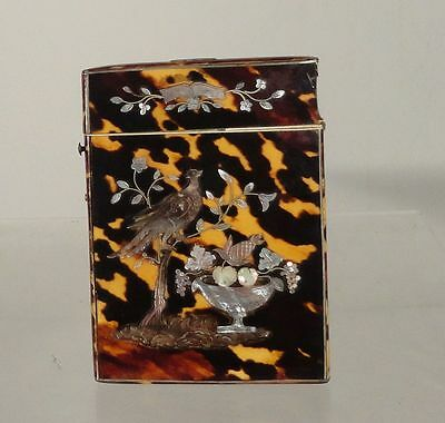 Antique Victorian Mother of Pearl Inlaid Card Case Holder Silver Mounts