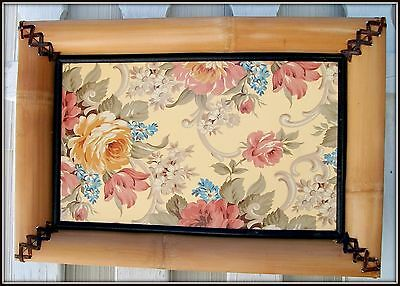 MACKENZIE CHILDS HUGE VINTAGE 1980's CABBAGE ROSE BAMBOO LEATHER TRAY WALL ART