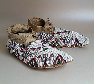 Great Sioux (Oglala Lakota) Beaded Moccasins, ca 1910-1920. Collection history.