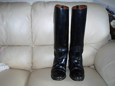 great quality long leather riding boots size 3, black, english , gd. condition.