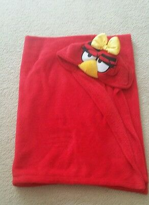 Official Angry Birds Hooded Fleece Poncho Blanket Cape Soft & Warm. Girls red