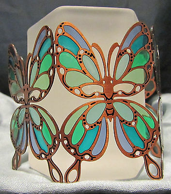 PartyLite Blue Copper Butterfly Voltive holder