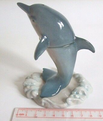 * 2 in 1 Handmade Ceramic Dolphin Salt and Pepper Shakers Set with Stand *