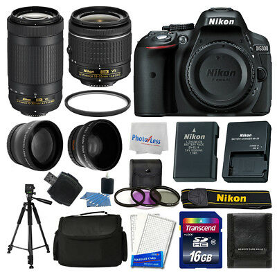 Nikon D5300 Digital SLR Camera + 16GB Top Value Bundle + 18-55mm VR + 70-300mm