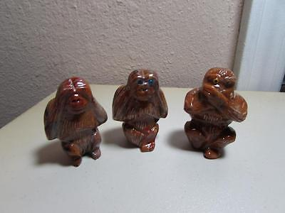 """Monkeys, """"See, Hear & Speak No Evil"""", Set of 3 Hand carved marble from Andes"""