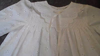 Vintage 1960s  White Cotton Broidery Anglaise Baby Christening Dress Doll Teddy