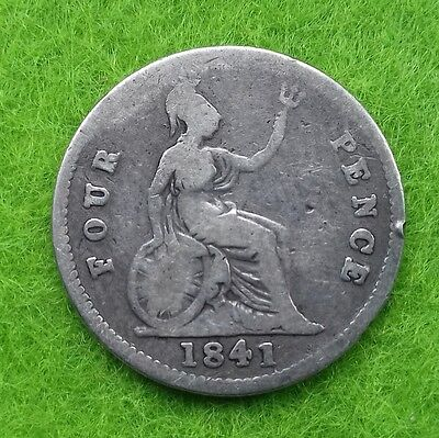 1841 Victoria Young Head Silver Fourpence (F)