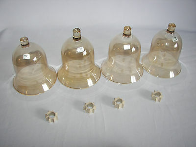 4 Home Interiors Homco Tall Amber Votive Candle Sconce Cups In Original Box