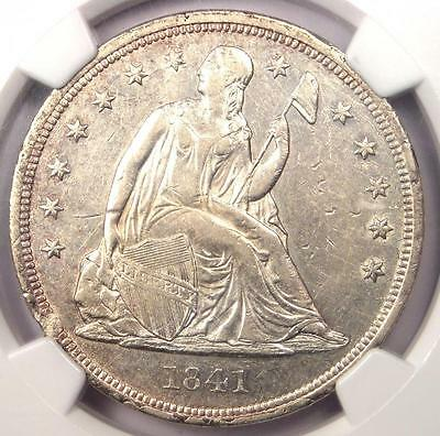 1841 Seated Liberty Silver Dollar $1 - NGC AU Details - Rare Early Date Coin!