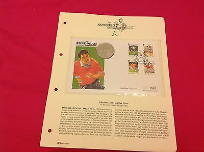 Westminster Gibraltar First Day Coin/Stamp Cover Football 1996 1 Crown