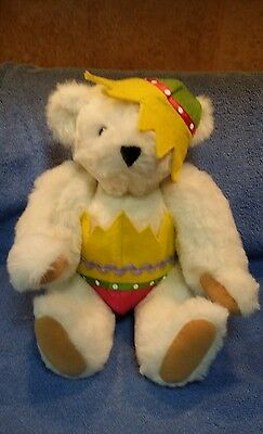 """Authentic Vermont Teddy Bear Company Usa White 15"""" Bear Wearing Easter Egg"""